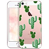 OOH!COLOR Bumper Compatible pour iPhone 5, iPhone 5S Coque iPhone Se Silicone Transparente avec Motif Souple Etui Soft Case Ultra Slim Fine Cover Cactus avec des Fleurs Emballage JETABLE