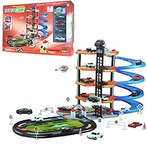 FunkyBuys 5 Level Modern Car Park Driveway (SI-TY1019) City Car Wash Garage Set Kids Gas Station Play Set Toy by FunkyBuys