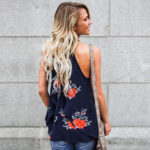 Bluestercool Femmes T-shirt Mode Floral Sans Manches Blouse Décontractée Bleu foncé