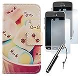 Lankashi 4in1 Set Lovely PU Flip Leder Tasche Für Doro Liberto 820 Mini Hülle Lederhülle Handyhülle Schutz Handy Case Cover Etui Skin mit Ultra-Klar HD Schutzfolie Folie Mini Stift Touch Pen Stylus