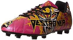 Nivia Destroyer Football Shoes, UK 9 (Black/Yellow/Pink)