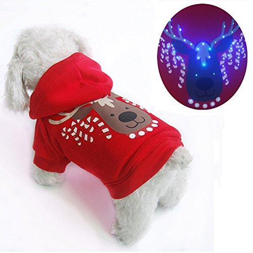 Weihnachten Pet Puppy Dog Hoodie LED-Licht Up Weihnachts Hund Shirt Kostüm Kleidung für Festive holiday (Up Licht Kostüme)