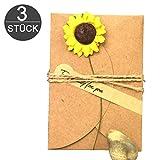 wortek Grußkarten 3 Stück Retro Glückwunschkarten DIY Kraftpapier zum Selbst Gestalten 10,5x7cm mit handgefertigter getrockneter Blume, Jute-Schnur zur kreativen Individuellen Gestaltung + Aufkleber