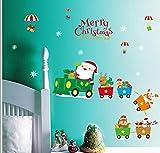 ZBYLL Pegatinas De Navidad Santa Claus Elk Tren Pegatinas De Pared Dormitorio Cabecera De Dibujos Animados