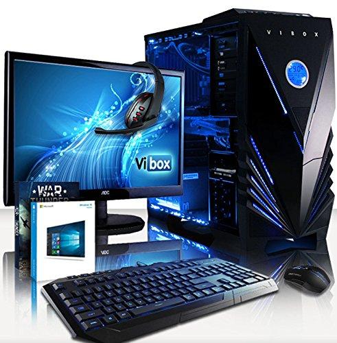 "VIBOX Cetus 54 PC Gaming Computer con Voucher di Gioco, Windows 10 OS, 22"" HD Monitor (4,5GHz Intel i7 Quad-Core, Nvidia GeForce GTX 1080 Ti Scheda Grafica, 32GB DDR3 RAM, 240GB SSD, 3TB HDD)"
