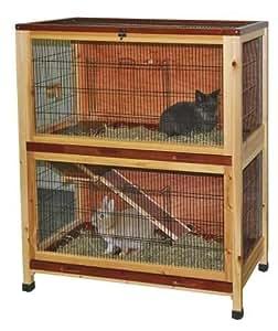 indoor kaninchenk fig aus holz 2 etagen 100x54x118cm nagerk fig f r drinnen wohnung kaninchen. Black Bedroom Furniture Sets. Home Design Ideas