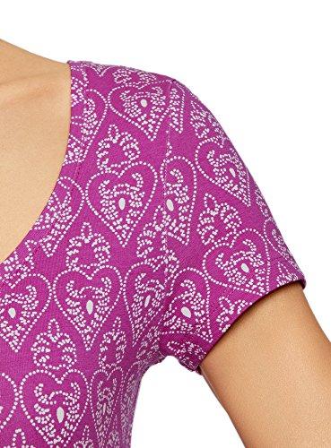 oodji Ultra Damen Enges Jersey-Kleid Violett (4730G)