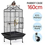Yaheetech Large Metal Bird Cage Open Playtop Parrot Cage for African Grey Parrots Conure Cockatiels w/Rolling Stand 81.5 x 77 x 160 cm (WxDxH)