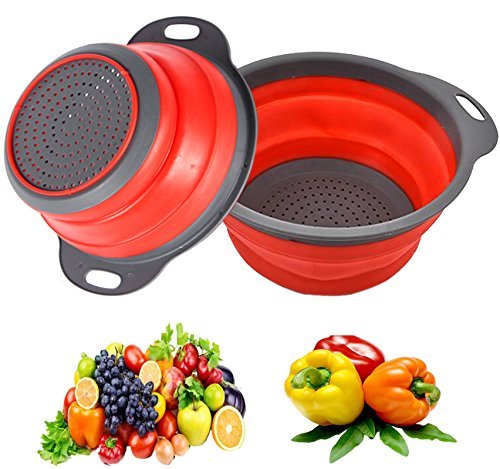 Yier Silikon zusammenklappbare Colander über dem Waschbecken Silikon Küche Sieb und Colanders Set Werkzeuge, rot (Waschbecken über Sieb)