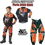 Wulf Attack Bambini Tuta Motocross - WULFSPORT Forte Bambini Maglia e Pantaloni Moto Cross ATV Quad off Road Sci Invernale Wind Stopper Tuta Moto Kids (Arancio,5-7 Anni)