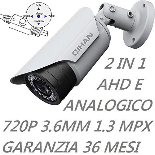QIHAN® - Telecamera bullet videosorveglianza professionale 2 IN 1 AHD e Analogica con Joystick, 1.3 Mxp, 720P, 24 Led, Ottica 3.6 mm, Chip 1/3 Sony Exmor CMOS, Risoluzione 1280(H) x 720 (V), Impermeabile Grado di protezione IP67, Alimentazione 12V, Lingua Italano. mod: QHW356SCNO