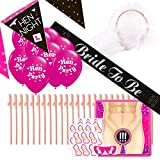 New Essentials Hen Party Hen Night Kit: Henne Wimpelkette und Luftballons, Schleier, Schärpe Bride To Be, 24 Willy Trinkhalme, Pin The Willie Spiel für bis zu 24 Player/Gäste