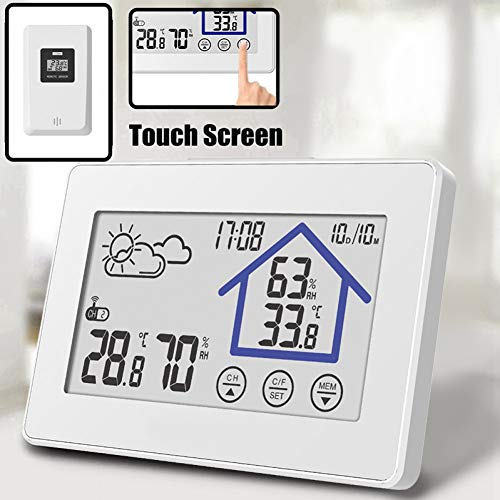 Preisvergleich Produktbild Xiaoqingren Led-digitaluhr Touchscreen Wetterstation Thermometer Indoor Outdoor Sensor Sender Temperatur Luftfeuchtigkeit Wanduhr Schreibtisch, Weiß