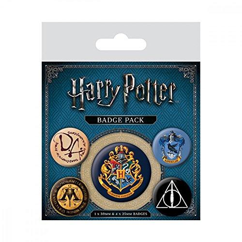 (5x Original Anhänger Anstecker Harry Potter Hermine Gryffindor Umhang Hogwarts für Kleidung Hemd Kostüm an Fasching und Karneval für Kinder und Erwachsene)