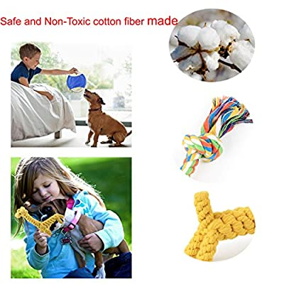 Janlyy Dog Rope Toys Durable Teething Cleaning Chew Cotton Toys Set for Puppy Medium Dogs(5 Pack, Random Color) by Janlyy