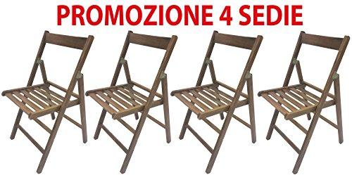 comprare on line 4 sedie pieghevole sedia birreria in legno noce richiudibile per campeggio casa prezzo