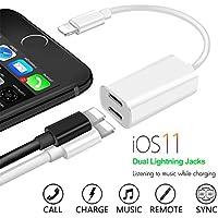 iPhone 8/8plus / X /iphone 7/7 Plus adapter kopfhörer und laden, Lightning auf Dual-Port Auflade- und Kopfhörer-Adapter, 2 in 1 - aufladen und gleichzeitig Musik hören (unterstützt iOS 11 und frühere)