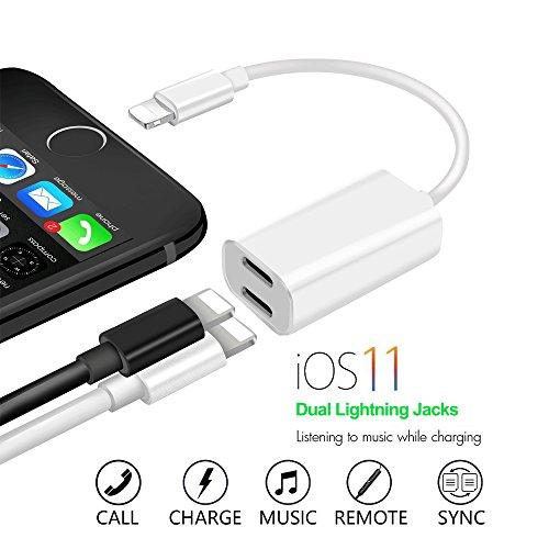 iPhone 7/7plus adapter kopfhörer und laden, Alquar Dual Lightning Adapter 2 in 1 Unterstützung Music Control ,aufladen und anrufen für IPhone 7/7plus /8/8plus /X,(Kompatibel mit IOS 11) (Aufladen)
