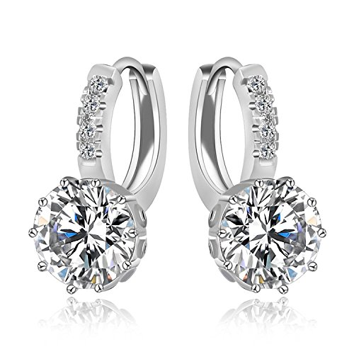 Zorah Silver Plated Round Shaped Hoop Earrings for Women embellished with AAA Cubic Zirconia Diamonds - Silver