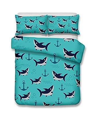 Cartoon anchors and sharks 3D Bedding Set Print Duvet cover set lifelike bed sheet #2