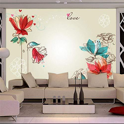 Europäische Mode-Wohnzimmer Fernsehhintergrund-Wanddekoration der Blumentapete 3d moderne, die Tapete 3d malt-A5