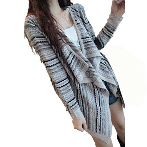 cardigan pour femme à manches longues pull à rayures en tricot style PC Gris - Gris