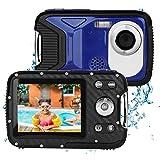 BYbrutek Kinder Digitalkamera, 21MP FHD 1080P, 5 Meter wasserdichte Kinder-Unterwasserkamera mit 2,8-Zoll-LCD, 8-facher Digitalzoom Kinder Actionkamera mit wiederaufladbarem 1050-mAH-Akku (Blau)
