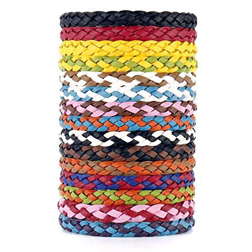 Qisiewell Mückenschutz-Armband 15 Stück Anti-Mücken Armband Natürlicher Insektenschutz - Ungiftig Kinder geeignet - Outdoor Indoor (Schwarz Rot Gelb - Bunt)