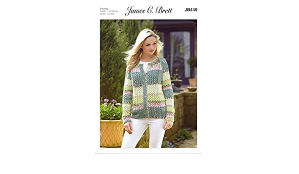 5fd16b44e5af7 James Brett Womens Knitting Pattern Ladies Harmony Chunky Long Sleeved Lacy  Cardigan (JB449)  Amazon.co.uk  Kitchen   Home