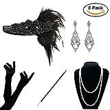 KQueenStar Damen Accessoires Set Halskette Handschuhe Zigarettenhalter Stirnband 20er Jahre 1920s Charleston Gatsby Retro Stil Kostüm Ball (Black1 Set)