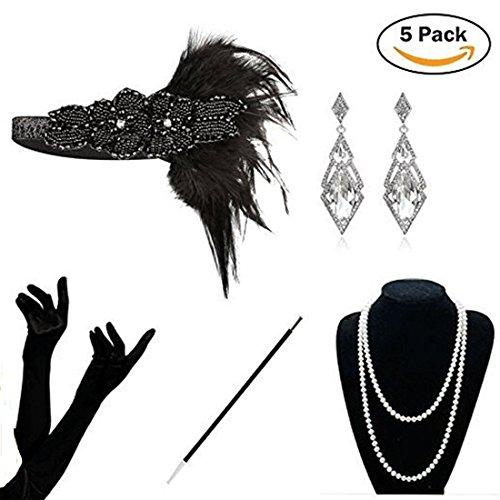 KQueenStar Damen Accessoires Set Halskette Handschuhe Zigarettenhalter Stirnband 20er Jahre 1920s Charleston Gatsby Retro Stil Kostüm Ball (Black4)