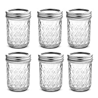 Womdee Clear Glass Mason Jars Set,250ml/500ml Wide Mouth Mason Jars with Airtight Lid, Fashion Canning Jars for Jam, Dressings, Drinkings, Spices, Food Storage, Decorating Jar (500ML,6Pcs)
