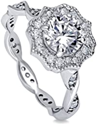 BERRICLE Rhodium Plated Sterling Silver Cubic Zirconia CZ Halo Art Deco Promise Engagement Ring