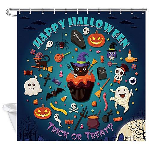 DYNH Happy Halloween Duschvorhänge, Happy Halloween, Schwarze Katze, Kürbis, Geister, Fledermaus, Trick oder Leckerli-Badevorhang, Polyesterstoff mit 12 Haken, 177,9 x 177,8 cm