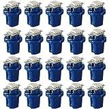 Lampara de medidor de coches - SODIAL(R)20X T5 Lampara Bombilla Luz lateral de cuna de guion salpicadero Speedo LED B8.5D de medidor de coches Azul