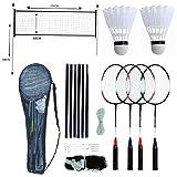 Generic.. Set 4player R profesional Badm Set de bádminton Shuttlecock bastones bolsa de malla de capa Ra Yer racke 4player raqueta Pole Juego..