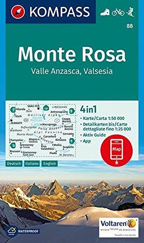 Monte Rosa, Valle Anzasca, Valsesia: 4in1 Wanderkarte 1:50000 mit Aktiv Guide und Detailkarten inklusive Karte zur offline Verwendung in der ... Skitouren. (KOMPASS-Wanderkarten, Band 88) (Monte Rosa)