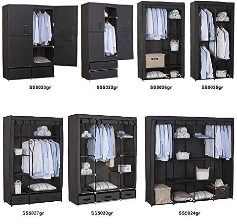 WOLTU SS5025gr-1 Stoffschrank Kleiderschrank Stoff , Garderobenschrank Faltschrank Stoffkleiderschrank , Grau , 88,3x46x169