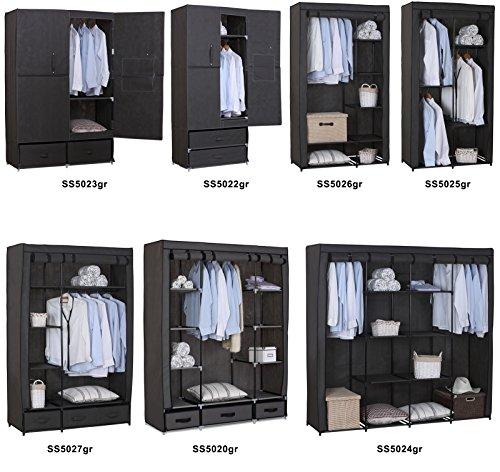 WOLTU SS5027gr-1 Stoffschrank Kleiderschrank Stoff , Garderobenschrank Faltschrank Stoffkleiderschrank , Grau , 110x46x168 cm