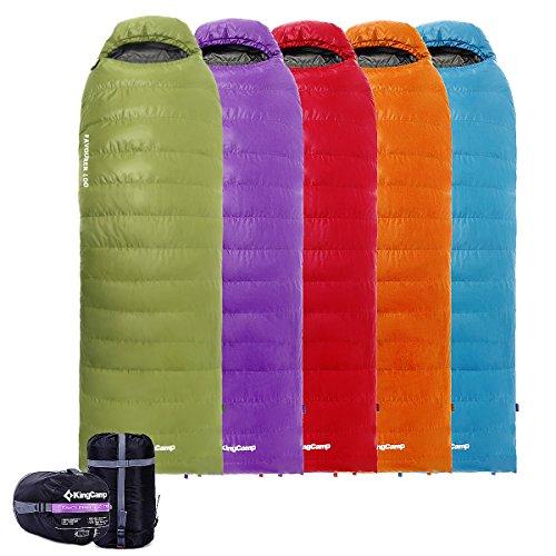 KingCamp Daunenschlafsack -12°C / 10.4°F Deckenschlafsack mit Kopfteil Warm Ultraleicht für Camping Trekking Wandern Zuhause Rucksackreisen, (185 + 35)x75 cm