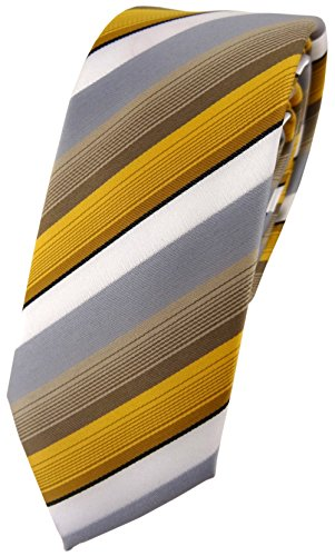 TigerTie - Cravate - À Rayures - Homme or gris blanc