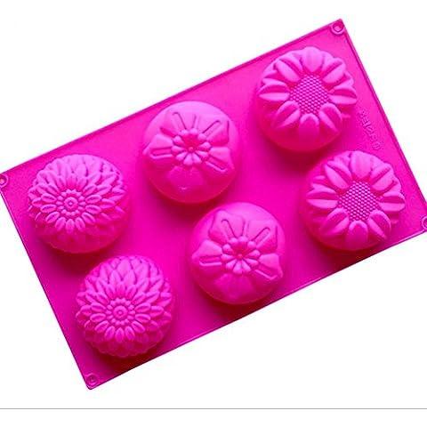 Cuocere la torta stampo in silicone a forma di fiore 3pcs