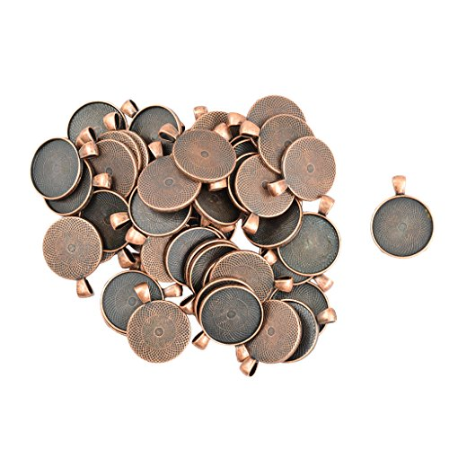 milageto 50 Stü Großhandel Blank Runde Lünette Tray Base Cabochon DIY Anhänger - Antikes Kupfer