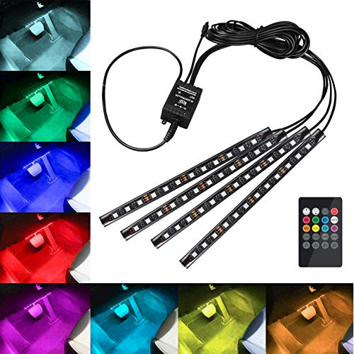 Favoto Luci LED Interne per Auto con 4 Barre 48 Lampadine Colorate per Illuminazione e Decorazione Interna d'Auto Lampade di Decorazione con Telecomando