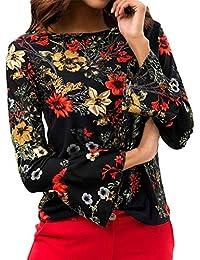 d3ba10fad Huiron Blusas de las mujeres Blusa de manga larga con estampado floral de  manga larga Blusa