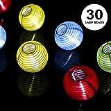 ProGreen Lanterne Guirlande, Solaire Guirlande Lumineuse 30 LED 6.5 Mètres, Décoration Intérieure et Extérieure pour jardin, terrasse, cour, maison, arbre de Noël, fête party etc (blanc chaud) (FBA-blanc chaud)