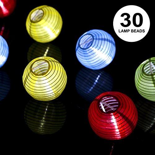 a023ce63720c89 ProGreen Lanterne Guirlande, Solaire Guirlande Lumineuse 30 LED 6.5 Mètres,  Décoration Intérieure et Extérieure