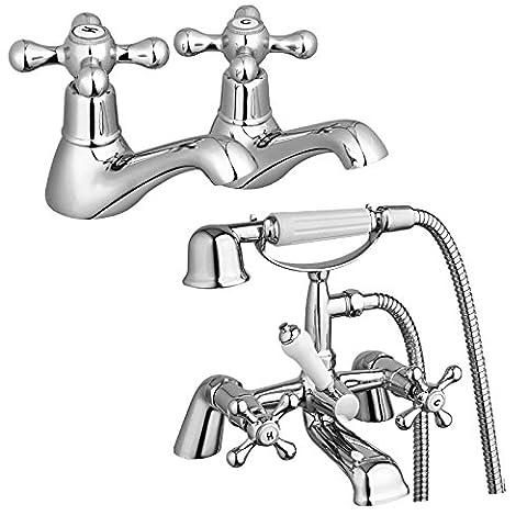ENKI Traditional Deck Mount Bath Filler Tap with Shower + Twin Hot & Cold Basin Tap Pack WINDSOR