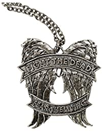 The Walking Dead Fight The Dead Wings Fear The Living Daryl Quote Necklace by AMC The