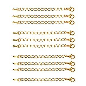 10/ 20pcs Edelstahl Verlängerungskette Kettenverlängerungen für Halsketten Edelstahlschmuck Ketten verlänger Ketten – Gold 10pcs 70mm